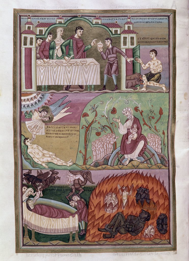 Stock Photo: 4409-6521 CODEX AUREUS - EL RICO EPULON, LAZARO Y EL MAL RICO - SIGLO XI. Location: MONASTERIO-BIBLIOTECA-COLECCION, SAN LORENZO DEL ESCORIAL, MADRID, SPAIN.
