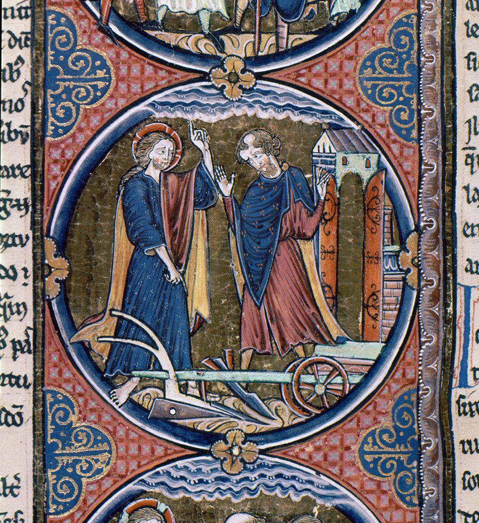 Stock Photo: 4409-6533 BIBLIA DE SAN LUIS-SEÑALES DEL TIEMPO Y NECESIDAD DE PENITENCIA. Location: CATEDRAL-BIBLIOTECA, TOLEDO, SPAIN.