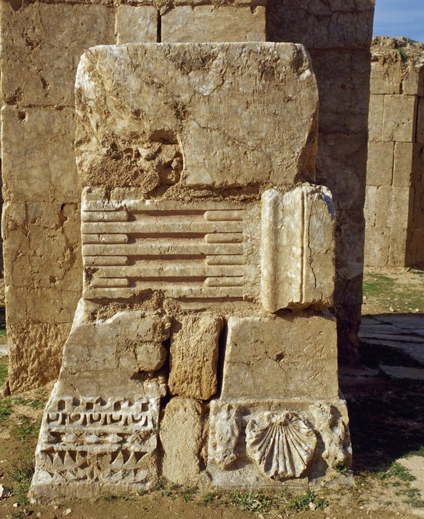 Stock Photo: 4409-65485 Byzantine Art. Syria. Resafa. Archaeological site situated south-west of the city of Ar Raqqah and the Euphrates. Biblical Rezeph. Ruins. Western Asia.