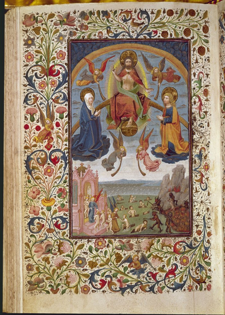 Stock Photo: 4409-6553 Book of Hours belonging to Isabel the Catholic. Fol 273. The Last Judgement. Madrid, Library of the Royal Palace. Location: PALACIO REAL-BIBLIOTECA, MADRID, SPAIN.