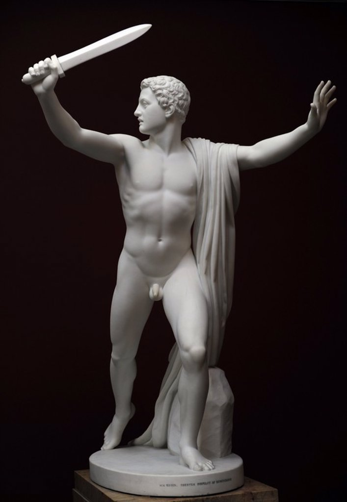 H.W. Bissen (1798-1868). Danish sculptor. Orestes flees from the Eumenides.(v. Bissen 1887 (H.W. Bissen, 1850-51). Ny Carlsberg Glyptotek. Denmark. : Stock Photo