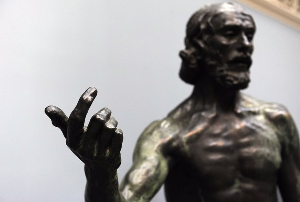 Stock Photo: 4409-65586 Auguste Rodin (1840-1917). Saint John the Baptist Preaching. Bonze (1902) (1878-1879). Carlsberg Glyptotek. Copenhaguen. Denmark.