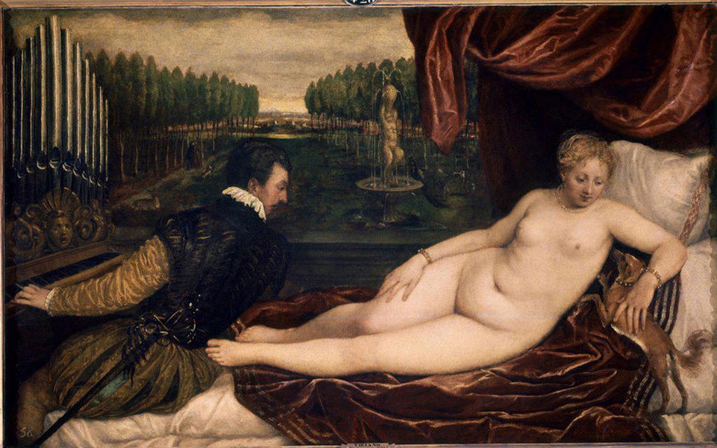 Stock Photo: 4409-6560 1485-1576. Venus entertaining herself with music. Vénus recreándose en la música. 1.36 X 2.20. Madrid, Prado museum. Author: TITIAN. Location: MUSEO DEL PRADO-PINTURA, MADRID, SPAIN.