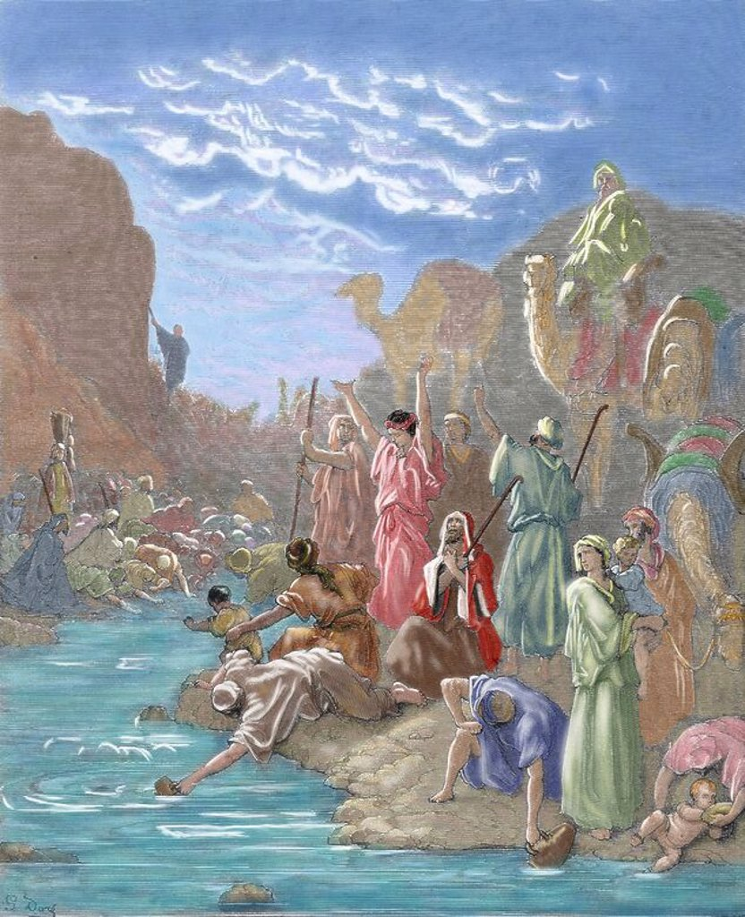 Stock Photo: 4409-65634 Moses brings forth water from the rock. Book of Exodus. G. Dore engraving. Colored.