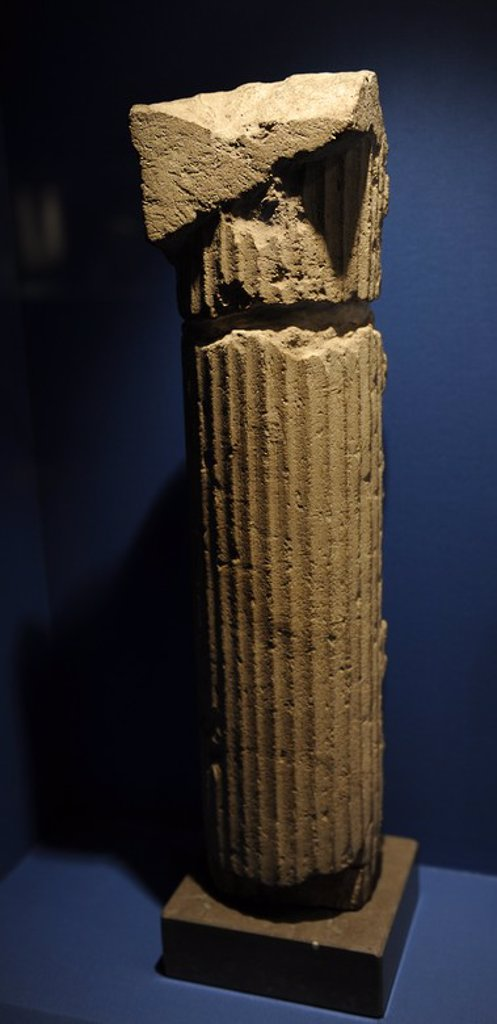 Stock Photo: 4409-65640 Fluted column of the tympanum of the enclosure of Hawara Labyrinth. Fayyum, Egypt. Limestone. Middle Kingdom. 12th Dynasty. Reign of Amenemhet III. 1831-1786 BC. Ny Carlsberg Glyptotek Museum. Copenhagen. Denmark.