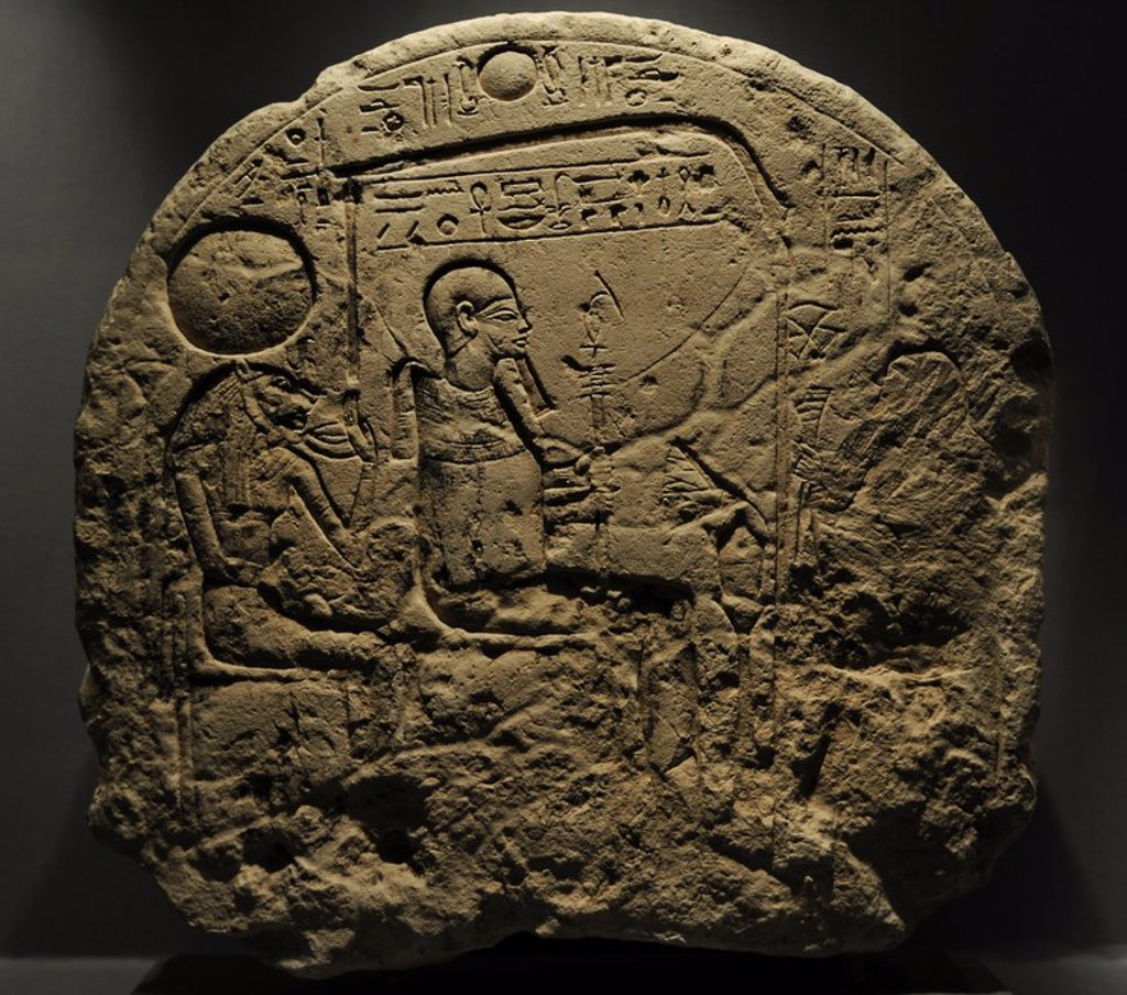 Offering stele for the god Ptah and his wife Sakhmet. Limestone. 19th Dynasty. New Kingdom. 1305-1196 BC. Temple of Ptah. Memphis, Egypt. Ny Carlsberg Glyptotek Museum. Copenhagen. Denmark. : Stock Photo