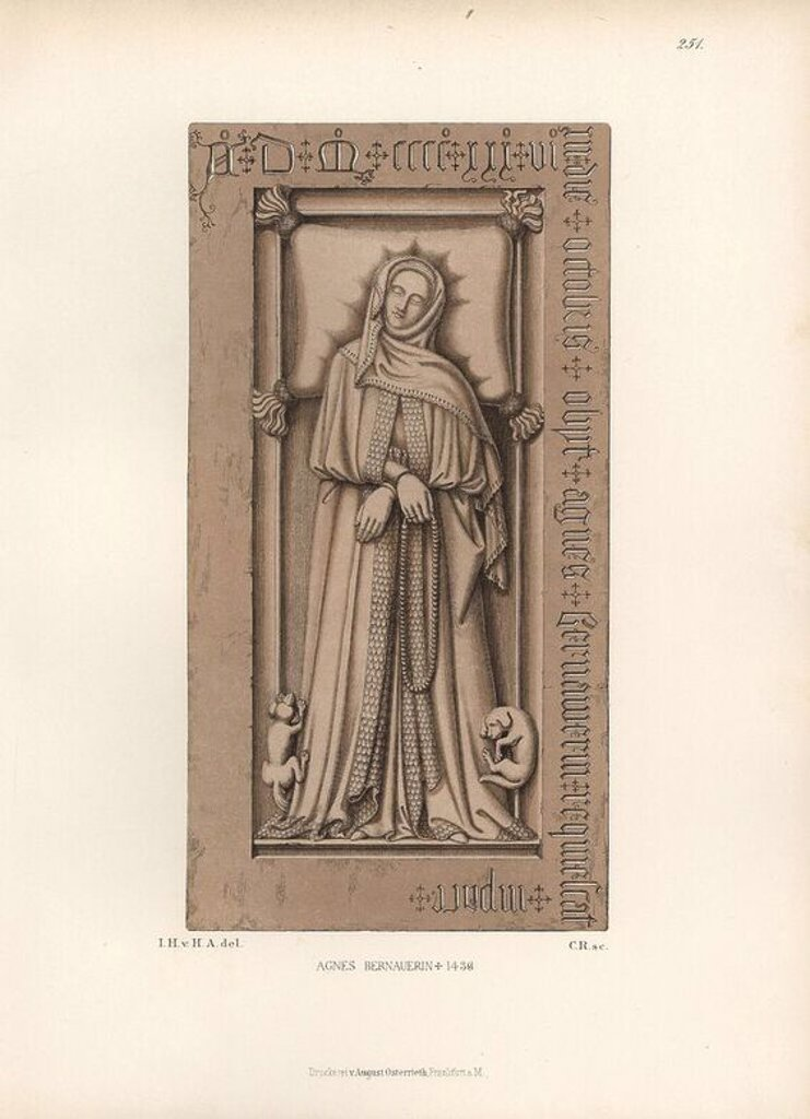 "Stock Photo: 4409-65782 Tombstone of Agnes Bernauer, 1410-1436, mistress to Albert III of Bavaria. From the Agnes Bernauer Chapel in Straubing. Chromolithograph from Hefner-Alteneck's ""Costumes, Artworks and Appliances from the early Middle Ages to the end of the 18th Century,"" Frankfurt, 1883. IIlustration drawn by Hefner-Alteneck, lithographed by CR, and published by Heinrich Keller. Dr. Jakob Heinrich von Hefner-Alteneck (1811-1903) was a German archeologist, art historian and illustrator. He was director of the Bav"