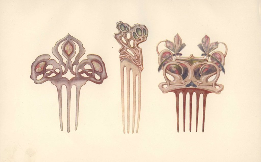 "Stock Photo: 4409-65833 British art nouveau hair combs in silver, mother of pearl, enamel and ivory by B.J. Barrie, David Veazey and Kate Allen.. Color plate from Charles Holme's ""Modern Design in Jewellery and Fans,"" published by the Studio 1902."