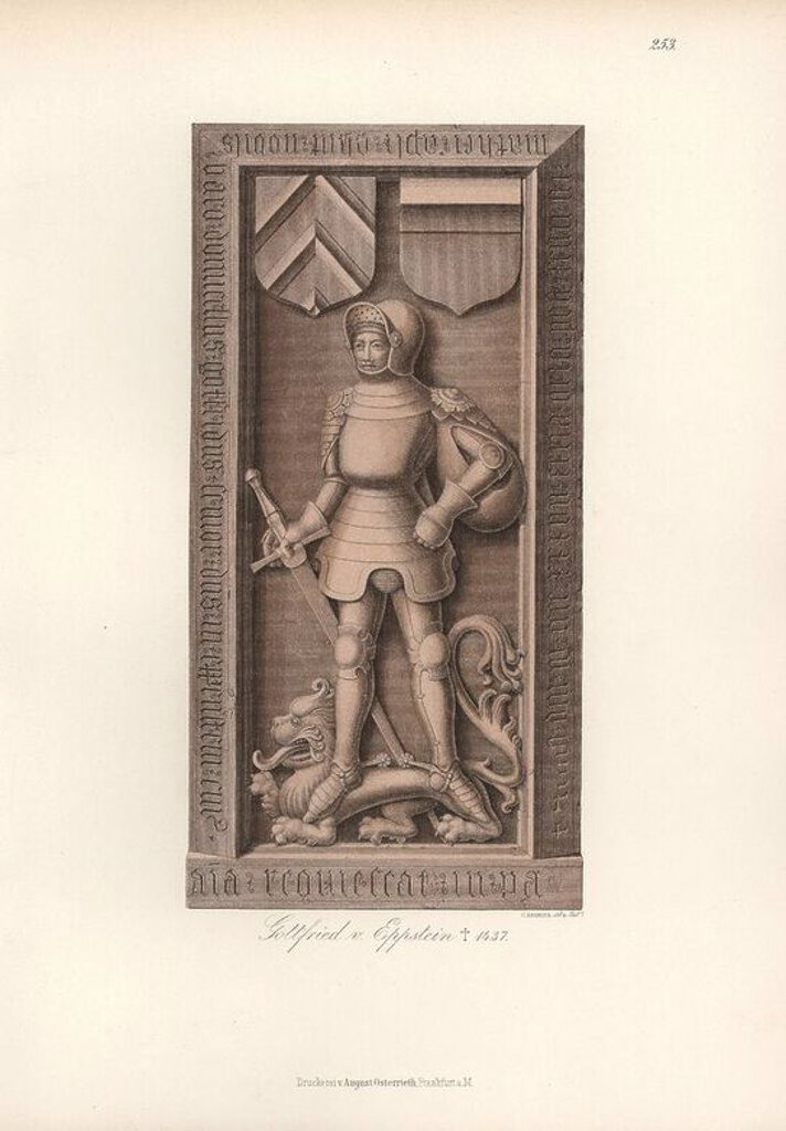 "Knight in armour from the 15th century with heraldic shield and helmet. Gravestone of Gottfried von Eppstein, died 1437. Chromolithograph from Hefner-Alteneck's ""Costumes, Artworks and Appliances from the early Middle Ages to the end of the 18th Century,"" Frankfurt, 1883. IIlustration drawn and lithographed by C. Regnier, and published by Heinrich Keller. Dr. Jakob Heinrich von Hefner-Alteneck (1811-1903) was a German archeologist, art historian and illustrator. He was director of the Bavarian N : Stock Photo"