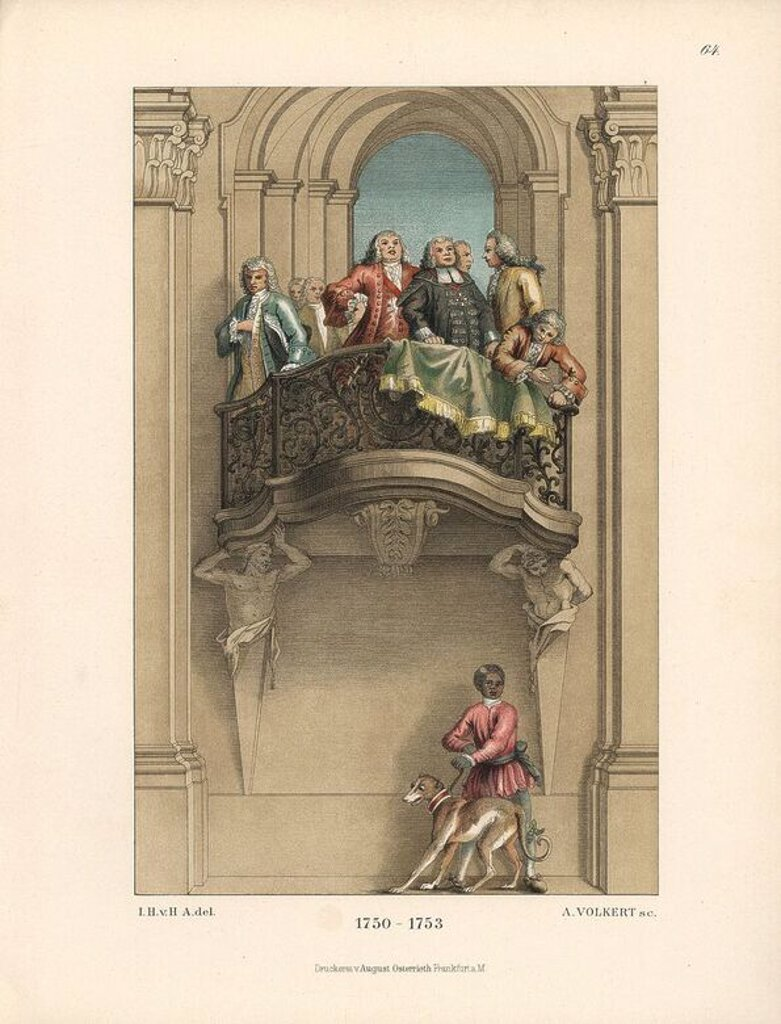 "Stock Photo: 4409-66073 Mid-18th century German male fashions worn by state officials from a mural by the Venetian artist Tiepelo in Wurzburg castle. Below the balcony is a black servant boy with a hunting dog. Chromolithograph from Hefner-Alteneck's ""Costumes, Artworks and Appliances from the Middle Ages to the 18th Century,"" Frankfurt, 1889. Illustration by Dr. Jakob Heinrich von Hefner-Alteneck, lithographed by A. Volkert, and published by Heinrich Keller. Dr. Hefner-Alteneck (1811 - 1903) was a German museum curato"