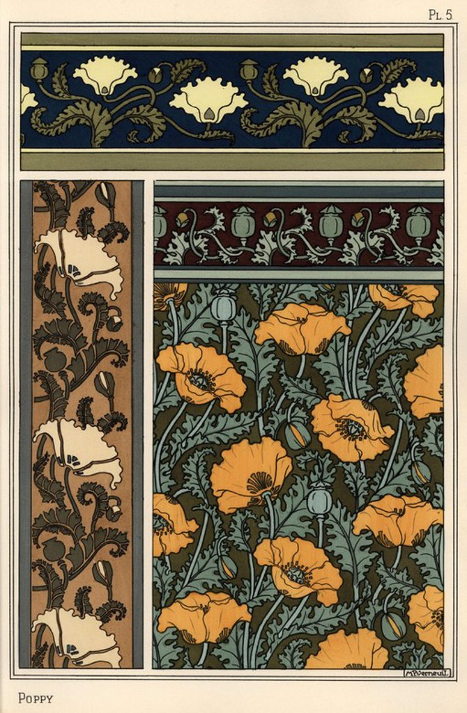 "Stock Photo: 4409-66094 The poppy, Papaver somniferum, in wallpaper and fabric patterns. Lithograph by Verneuil with pochoir (stencil) handcoloring from Eugene Grasset's ""Plants and their Application to Ornament,"" Paris, 1897. Eugene Grasset (1841-1917) was a Swiss artist whose innovative designs inspired the ""art nouveau"" movement at the end of the 19th century."