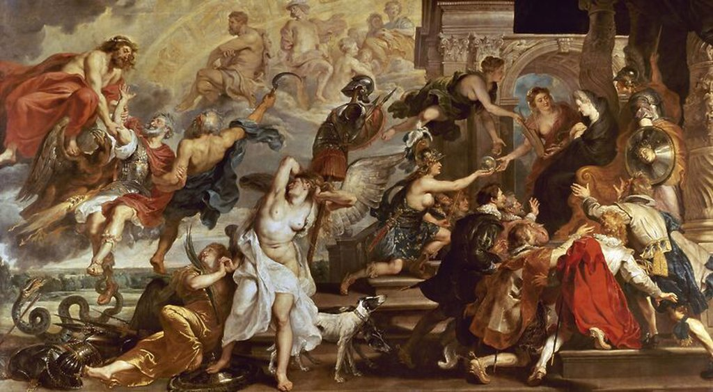 Stock Photo: 4409-6618 Apotheosis of Henry IV of France (and Henry III of NAvarra from 1562 to 1610) and Regency of Maria of Medici. Paris, musée du Louvre. Author: RUBENS, PETER PAUL. Location: LOUVRE MUSEUM-PAINTINGS, PARIS, FRANCE.