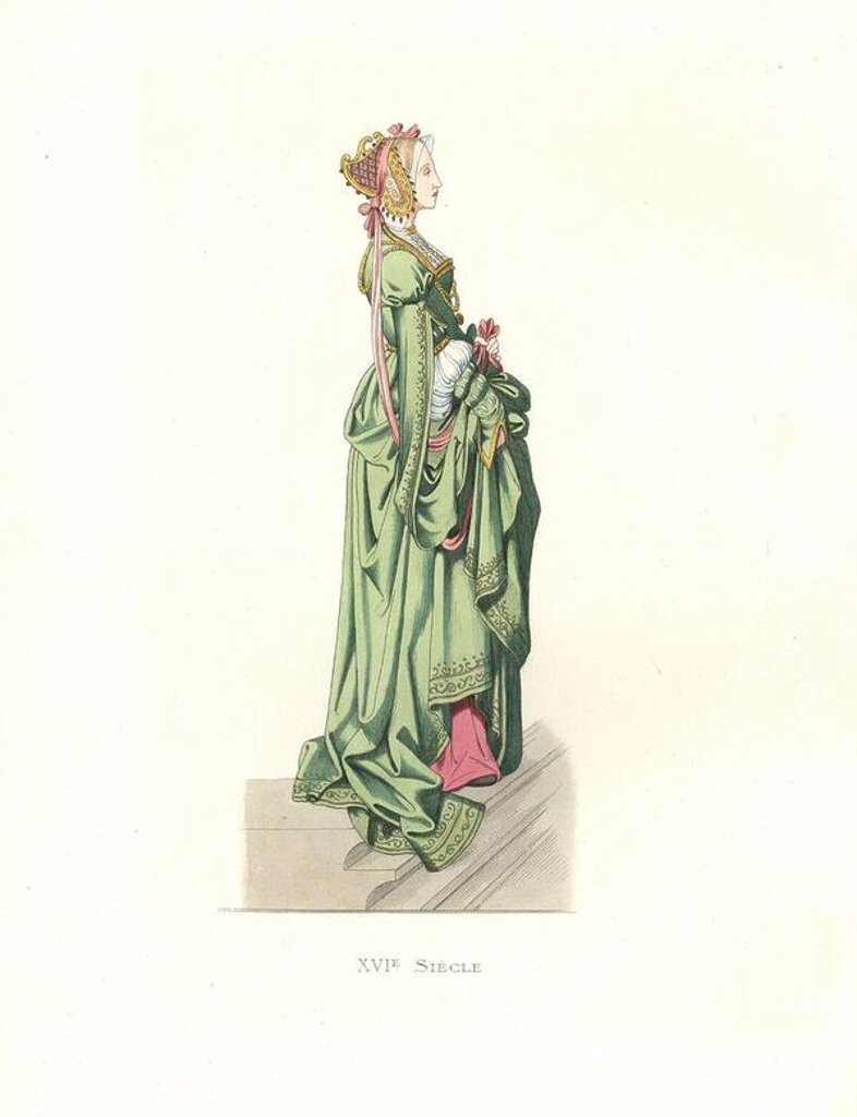 "Flemish lady in waiting, 16th century, long green dress with embroidered edges, pink underdress, headdress with pearls and pink ribbons.. Handcolored illustration by E. Lechevallier-Chevignard, lithographed by A. Didier, L. Flameng, F. Laguillermie, from Georges Duplessis's ""Costumes historiques des XVIe, XVIIe et XVIIIe siecles"" (Historical costumes of the 16th, 17th and 18th centuries), Paris 1867. The book was a continuation of the series on the costumes of the 12th to 15th centuries publishe : Stock Photo"