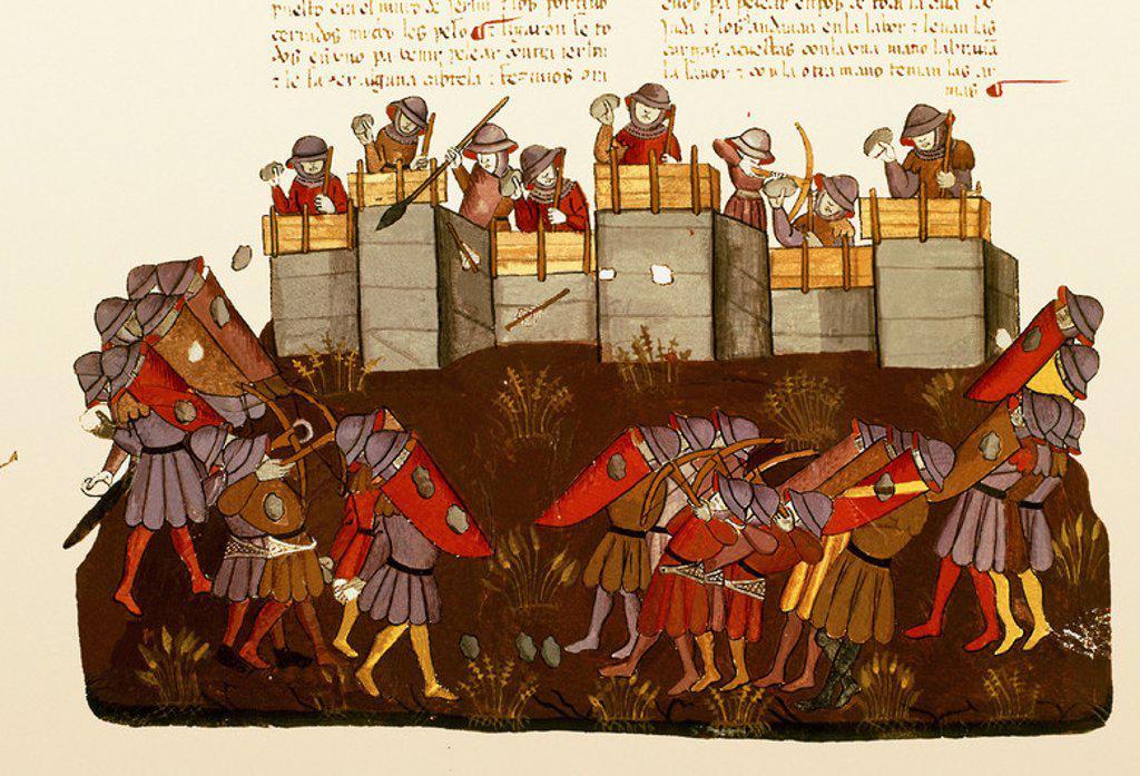 Stock Photo: 4409-6635 BIBLIA ALBA-NEHEMIAS RECONSTRUYE LA MURALLA DE JERUSALEN Y LOS ENEMIGOS SE BURLAN ATACANDO(CONJ 1528. Location: PRIVATE COLLECTION, MADRID, SPAIN.