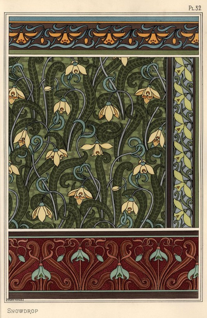 "Snowdrop, Galanthus nivalis, as design motif in wallpaper, borders and fabrics. Lithograph by Verneuil with pochoir (stencil) handcoloring from Eugene Grasset's ""Plants and their Application to Ornament,"" Paris, 1897. Grasset (1841-1917) was a Swiss artist whose innovative designs inspired the ""art nouveau"" movement at the end of the 19th century. : Stock Photo"