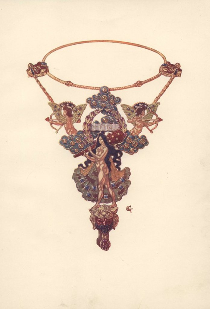 "Stock Photo: 4409-66423 French art nouveau pendant and necklet by Eugene Grasset (1845–1917), Swiss decorative artist of the Belle Epoque.. Color plate from Charles Holme's ""Modern Design in Jewellery and Fans,"" published by the Studio 1902."