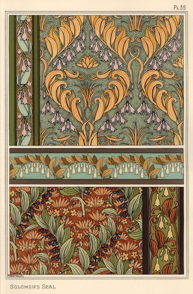"Stock Photo: 4409-66543 Solomon's seal, Polygonatum multiflorum, as design motif in wallpaper, borders and fabric. Lithograph by Verneuil with pochoir (stencil) handcoloring from Eugene Grasset's ""Plants and their Application to Ornament,"" Paris, 1897. Grasset (1841-1917) was a Swiss artist whose innovative designs inspired the ""art nouveau"" movement at the end of the 19th century."