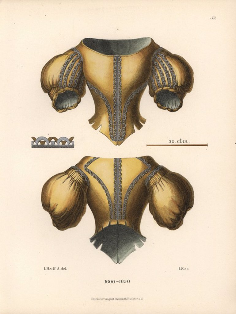 "Stock Photo: 4409-66592 Women's silk jacket with puff sleeves embroidered with silver from the early 17th century. Chromolithograph from Hefner-Alteneck's ""Costumes, Artworks and Appliances from the Middle Ages to the 17th Century,"" Frankfurt, 1889. Illustration by Dr. Jakob Heinrich von Hefner-Alteneck, lithographed by Joh. Klipphahn, and published by Heinrich Keller. Dr. Hefner-Alteneck (1811 - 1903) was a German museum curator, archaeologist, art historian, illustrator and etcher."
