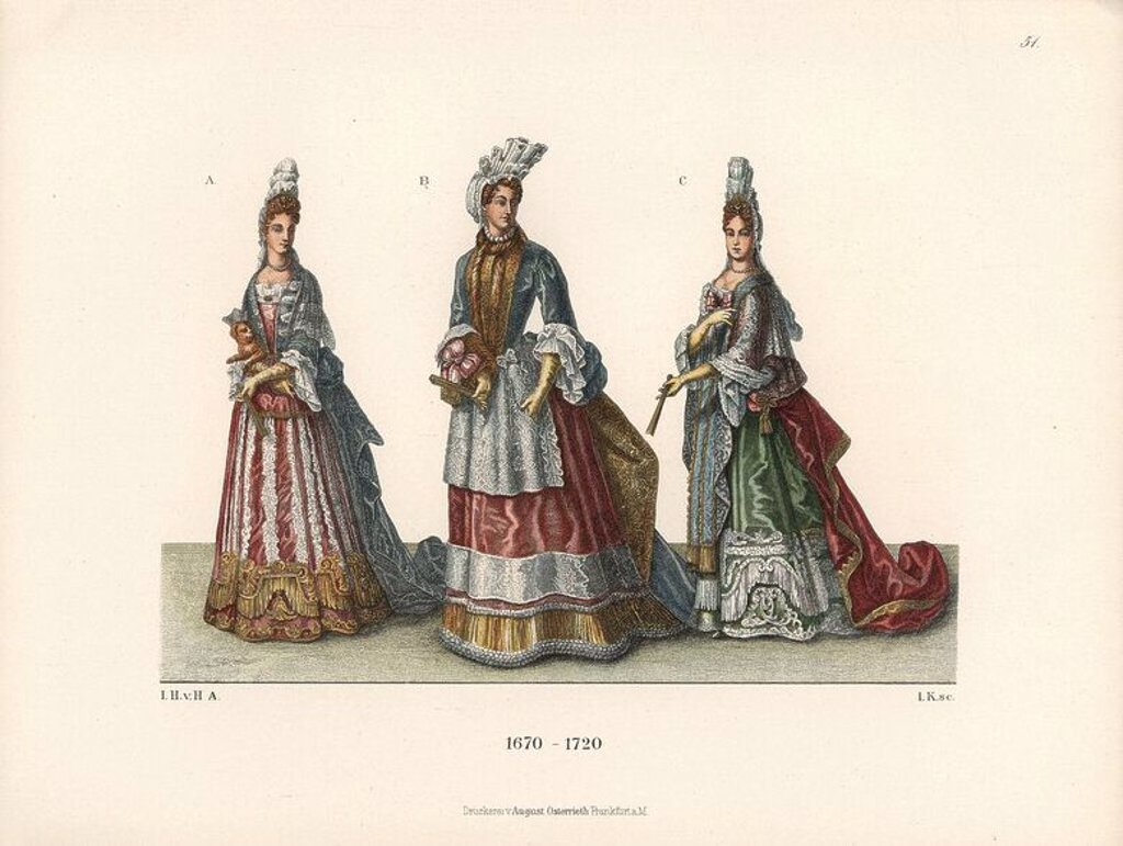 "Stock Photo: 4409-66717 Noblewomen from the late 17th century from prints of the period. Archduchess of Austria, daughter of Leopold I (B), and French courtiers from the court of King Louis XIV. Chromolithograph from Hefner-Alteneck's ""Costumes, Artworks and Appliances from the Middle Ages to the 18th Century,"" Frankfurt, 1889. Illustration by Dr. Jakob Heinrich von Hefner-Alteneck, lithograph by Joh. Klipphahn and published by Heinrich Keller. Dr. Hefner-Alteneck (1811 - 1903) was a German curator, archaeologist, art"