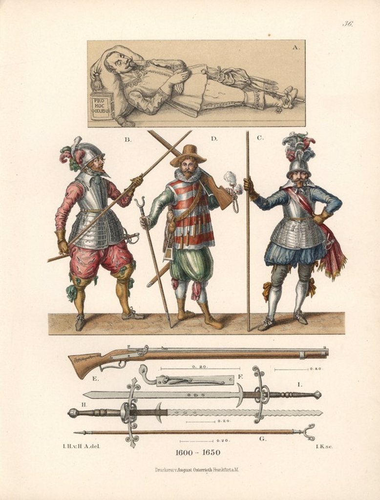"Stock Photo: 4409-66739 Military equipment and weapons from the 17th century. Lancers and arquebusier in the centre, and Chromolithograph from Hefner-Alteneck's ""Costumes, Artworks and Appliances from the Middle Ages to the 17th Century,"" Frankfurt, 1889. Illustration by Dr. Jakob Heinrich von Hefner-Alteneck, lithographed by Joh. Klipphahn and published by Heinrich Keller. Dr. Hefner-Alteneck (1811 - 1903) was a German curator, archaeologist, art historian, illustrator and etcher."