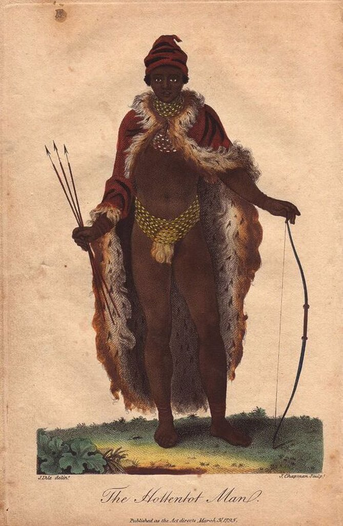 "Stock Photo: 4409-66785 ""The Hottentot Man."" Khoisan man of South Africa wearing animal skin, beaded necklace and loincloth, carrying a bow and arrow.. . Hand-colored copperplate engraving from a drawing by Johann Ihle from Ebenezer Sibly's ""Universal System of Natural History"" 1794. . . The prolific Sibly published his Universal System of Natural History in 1794~1796 in five volumes covering the three natural worlds of fauna, flora and geology. The series included illustrations of mythical beasts such as the sukotyro"