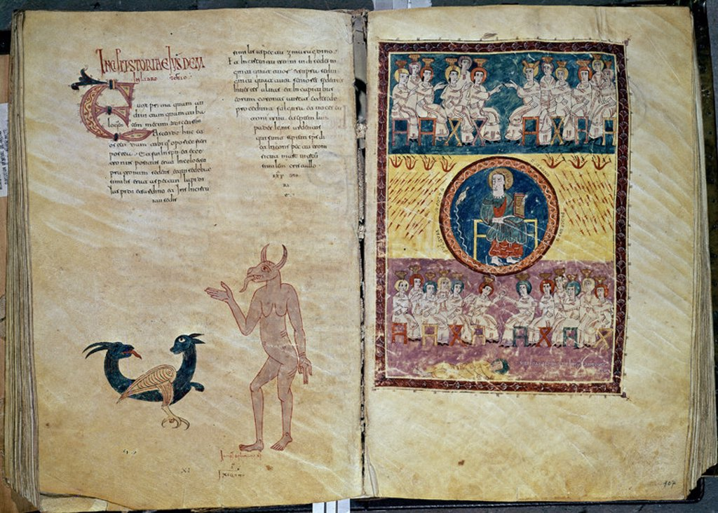Stock Photo: 4409-6691 BEATO DE SAN SALVADOR DE TABARA, VISION DE DIOS ENTRONIZADO, ANCIANOS Y MAR DE VIDRIO, 975- COMENTARIOS AL APOCALIPSIS. Author: BEATO DE LIEBANA. Location: CATEDRAL-ARCHIVO CAPITULAR, GERONA, SPAIN.