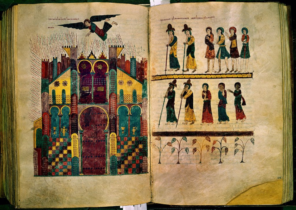 Comments on the Apocalypse. Mozarab. Fire on Babylon. Gerona Cathedral-Library. Author: BEATO DE LIEBANA. Location: CATEDRAL-ARCHIVO CAPITULAR, GERONA, SPAIN. : Stock Photo
