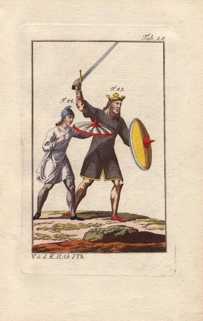 "Stock Photo: 4409-67058 Anglo saxon king in battle wearing a crown and a knee-length chain-mail tunic (""lorica""), a suit of armour reserved for royalty in the 8th century. He carries a yellow shield in his left hand and brandishes a sword in his right hand above his head.. . Beside him, his equerry wears a blue cloth hat and white tunic, and carries a white shield rimmed with scarlet. . . Handcolored copperplate engraving from Robert von Spalart's ""Historical Picture of the Costumes of the Principal People of Antiquity"