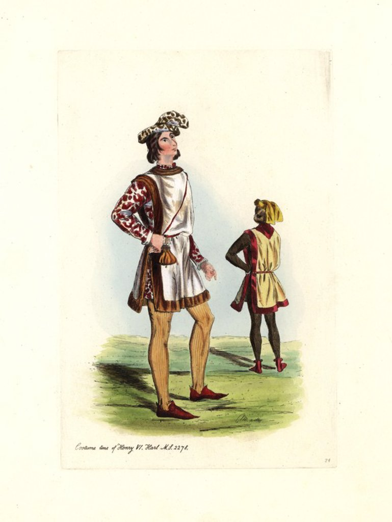 "Male costume time of Henry VI, 1422-1461, Harleian MS 2278. Handcolored engraving from ""Civil Costume of England from the Conquest to the Present Period"" drawn by Charles Martin and etched by Leopold Martin, London, Henry Bohn, 1842. The costumes were drawn from tapestries, monumental effigies, illuminated manuscripts and portraits. Charles and Leopold Martin were the sons of the romantic artist and mezzotint engraver John Martin (1789-1854). : Stock Photo"