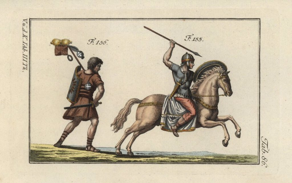 "Stock Photo: 4409-67250 Roman cavalry with javelin (verutum) and a Roman soldier on the march with his pack, sword (gladius) and shield (scutum). Handcolored copperplate engraving from Robert von Spalart's ""Historical Picture of the Costumes of the Principal People of Antiquity and of the Middle Ages"" (1798)."