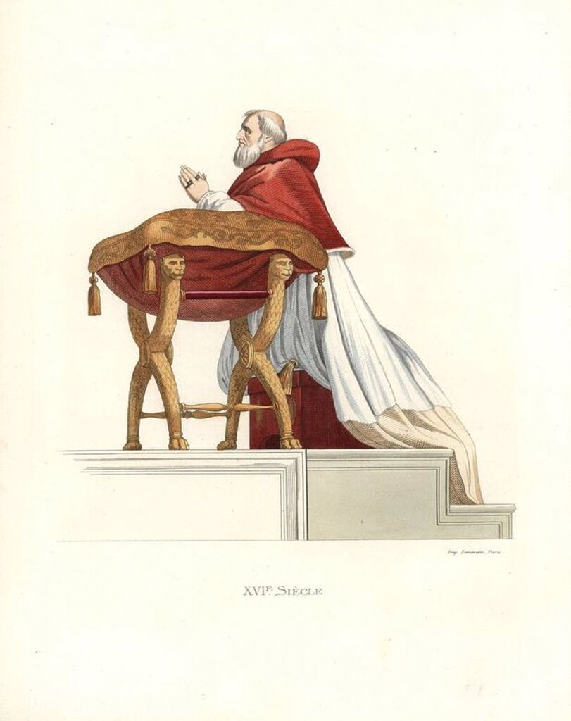 "Stock Photo: 4409-67288 Pope Julius II (1503-1513), from a fresco by Raphael. Scarlet mozzetta over his shoulders, over a white surplice over cream cassock.. Handcolored illustration by E. Lechevallier-Chevignard, lithographed by A. Didier, L. Flameng, F. Laguillermie, from Georges Duplessis's ""Costumes historiques des XVIe, XVIIe et XVIIIe siecles"" (Historical costumes of the 16th, 17th and 18th centuries), Paris 1867. The book was a continuation of the series on the costumes of the 12th to 15th centuries published by"