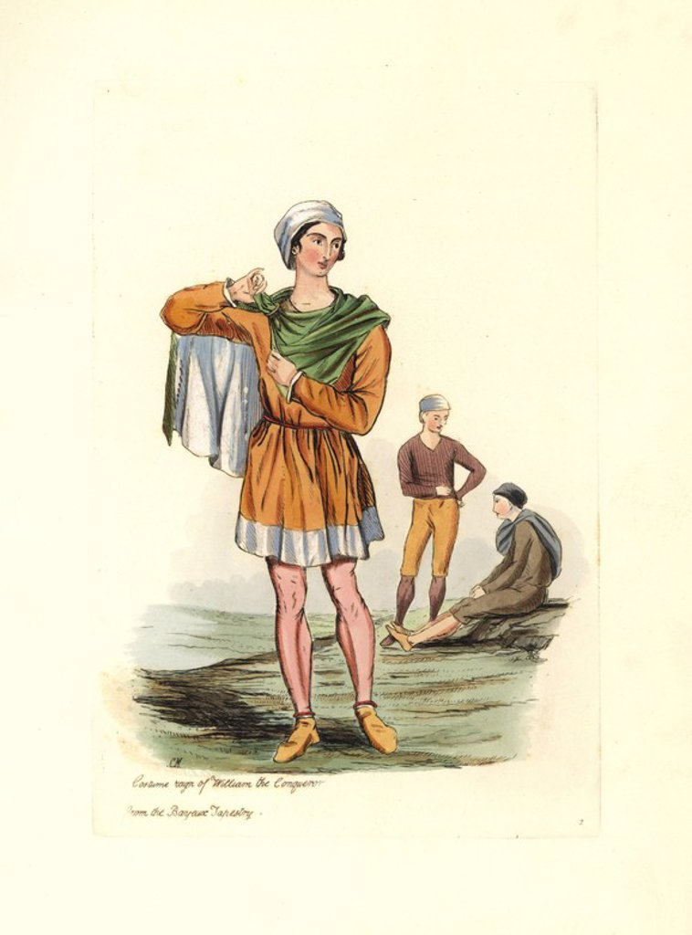 "Stock Photo: 4409-67559 Costume of the time of William the Conqueror from the Bayeux Tapestry. A peasant in tunic, cloak and hat. Handcolored engraving from ""Civil Costume of England from the Conquest to the Present Period"" drawn by Charles Martin and etched by Leopold Martin, London, Henry Bohn, 1842. The costumes were drawn from tapestries, monumental effigies, illuminated manuscripts and portraits. Charles and Leopold Martin were the sons of the romantic artist and mezzotint engraver John Martin (1789-1854)."