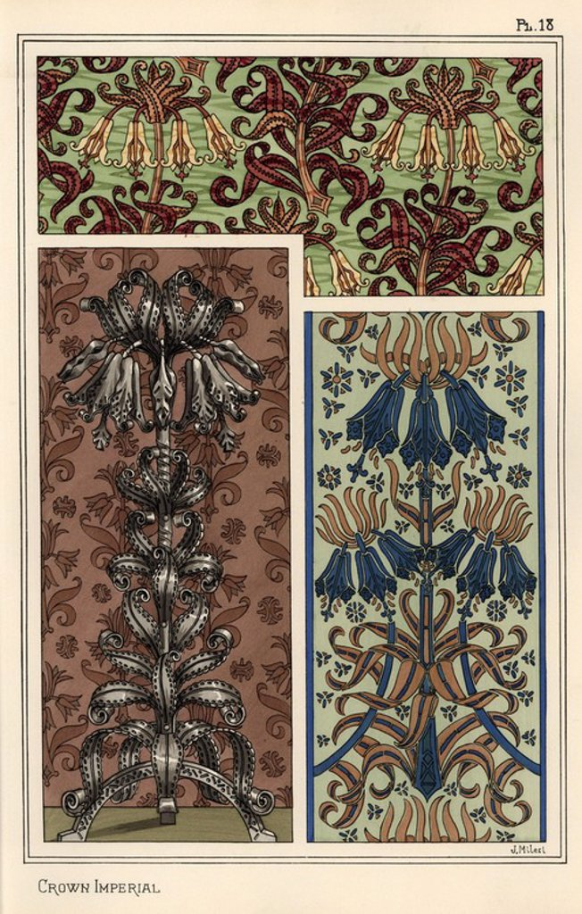 "Stock Photo: 4409-67658 Crown imperial flower, Fritillaria imperialis, in wallpaper and fabric patterns, and as design for a steel art object. Lithograph by J. Milesi with pochoir (stencil) handcoloring from Eugene Grasset's ""Plants and their Application to Ornament,"" Paris, 1897. Grasset (1841-1917) was a Swiss artist whose innovative designs inspired the ""art nouveau"" movement at the end of the 19th century."