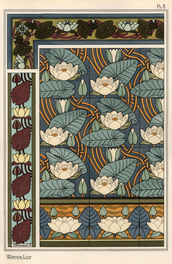 "The water lily, Nelumbo lutea, in wallpaper and tile patterns. Lithograph by Verneuil with pochoir (stencil) handcoloring from Eugene Grasset's ""Plants and their Application to Ornament,"" Paris, 1897. Grasset (1841-1917) was a Swiss artist whose innovative designs inspired the ""art nouveau"" movement at the end of the 19th century. : Stock Photo"