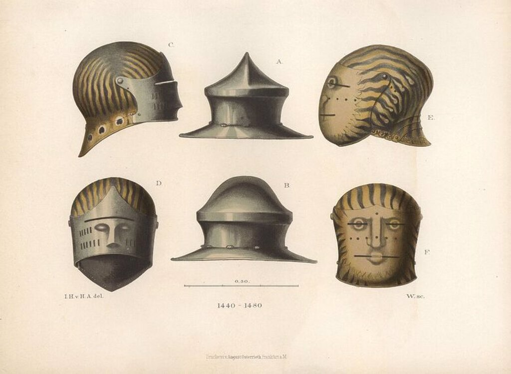 "Stock Photo: 4409-67729 Three helmets from the late 15th century. A kettle hat in the middle, a sallet with visor at left, and a visored helmet decorated with flames at right. Chromolithograph from Hefner-Alteneck's ""Costumes, Artworks and Appliances from the early Middle Ages to the end of the 18th Century,"" Frankfurt, 1883. IIlustration drawn by Hefner-Alteneck, lithographed by C. Regnier, and published by Heinrich Keller. Dr. Jakob Heinrich von Hefner-Alteneck (1811-1903) was a German archeologist, art historian and"