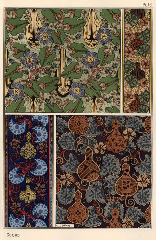 "Stock Photo: 4409-67798 Gourd in fabric and wallpaper patterns. Lithograph by Schlumberger with pochoir (stencil) handcoloring from Eugene Grasset's ""Plants and their Application to Ornament,"" Paris, 1897. Grasset (1841-1917) was a Swiss artist whose innovative designs inspired the ""art nouveau"" movement at the end of the 19th century."