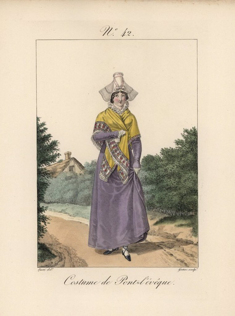 "Stock Photo: 4409-67963 Costume of Pont l'Eveque. The bavolet bonnet differs slightly from that of Lisieux, because the papillon butterfly wings are fixed at the temples. Hand-colored fashion plate illustration by Lante engraved by Gatine from Louis-Marie Lante's ""Costumes des femmes du Pays de Caux,"" 1827/1885. With their tall Alsation lace hats, the women of Caux and Normandy were famous for the elegance and style."