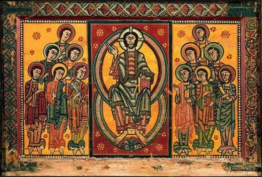 Pediment of the Apostles in la Seo de Urgell. 12th century. Painting on a panel. Catalan romanesque art. Barcelona, Cataluña Museum of Art. Location: MUSEU NACIONAL D'ART CATALUNYA, BARCELONA, SPAIN. : Stock Photo