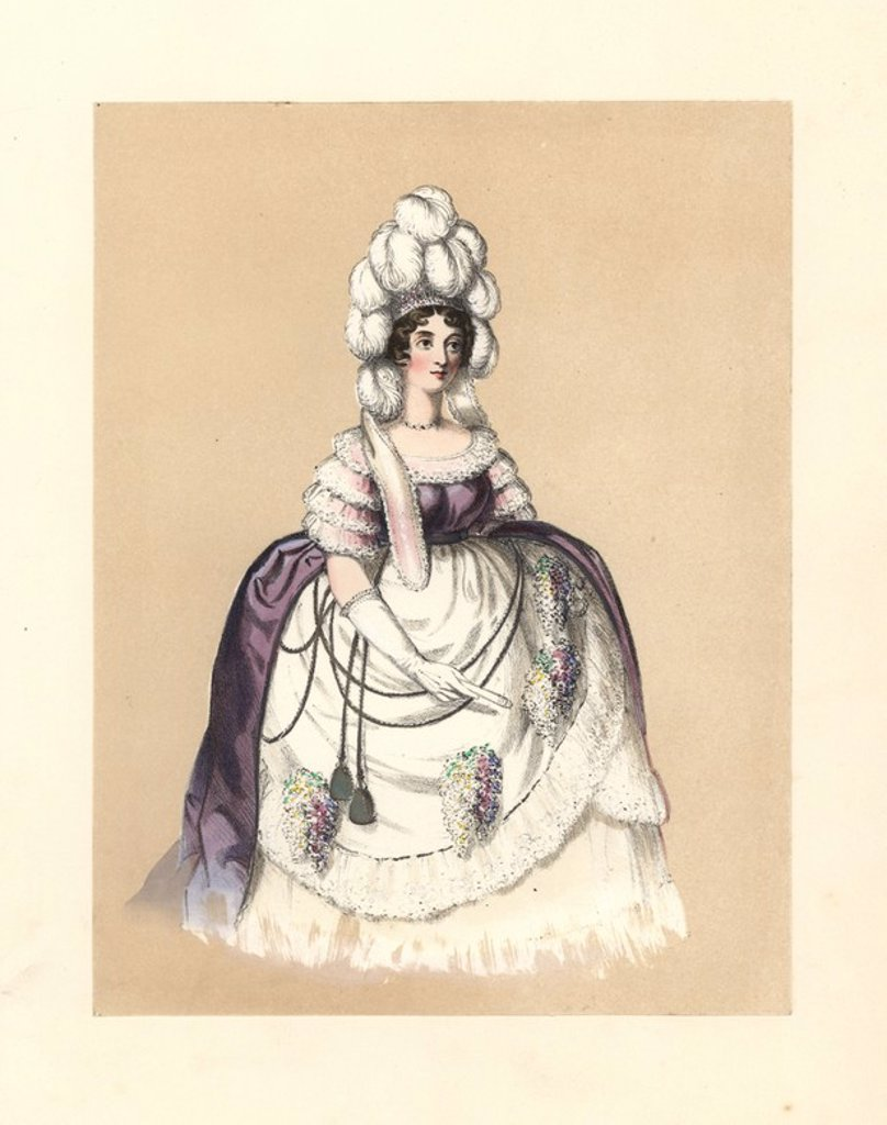 "Stock Photo: 4409-68020 Dress of the reign of George III, 1760~1820. Woman in feathered headdress, gown of purple silk with lace sleeves, large hooped petticoats with bunches of flowers. Wardrobes preserved of the court of Queen Charlotte. Prints and recollections of the style, and the panier hoop still in the possession of a lady. Handcoloured lithograph from ""Costumes of British Ladies from the Time of William the First to the Reign of Queen Victoria,"" London, Dickinson & Son, 1840. 48 mounted plates of women's fashi"