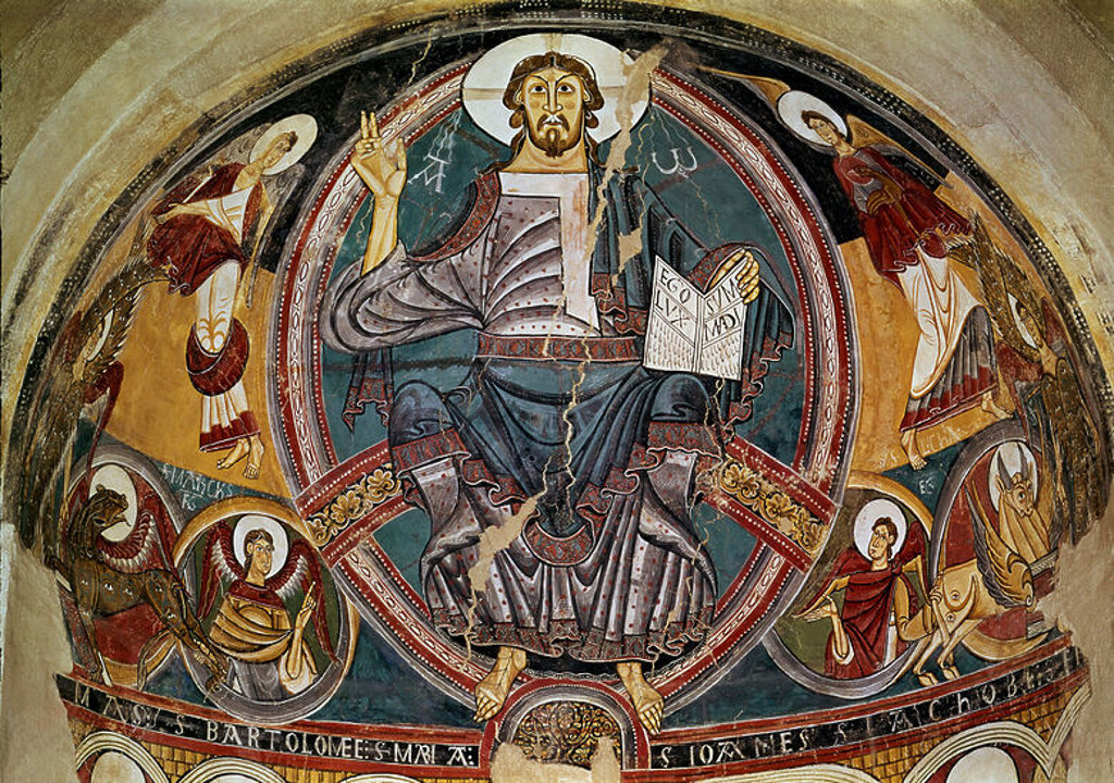 Detail of the apse. Christ Pantocrator of San Clemente de Tahull. 12th century. Catalan romanesque art. Painting in fresco. Barcelona, Cataña Museum of Art. Author: MAESTRO DE TAHULL / MAESTRO DE TAULL. Location: MUSEU NACIONAL D'ART CATALUNYA, BARCELONA, SPAIN. : Stock Photo
