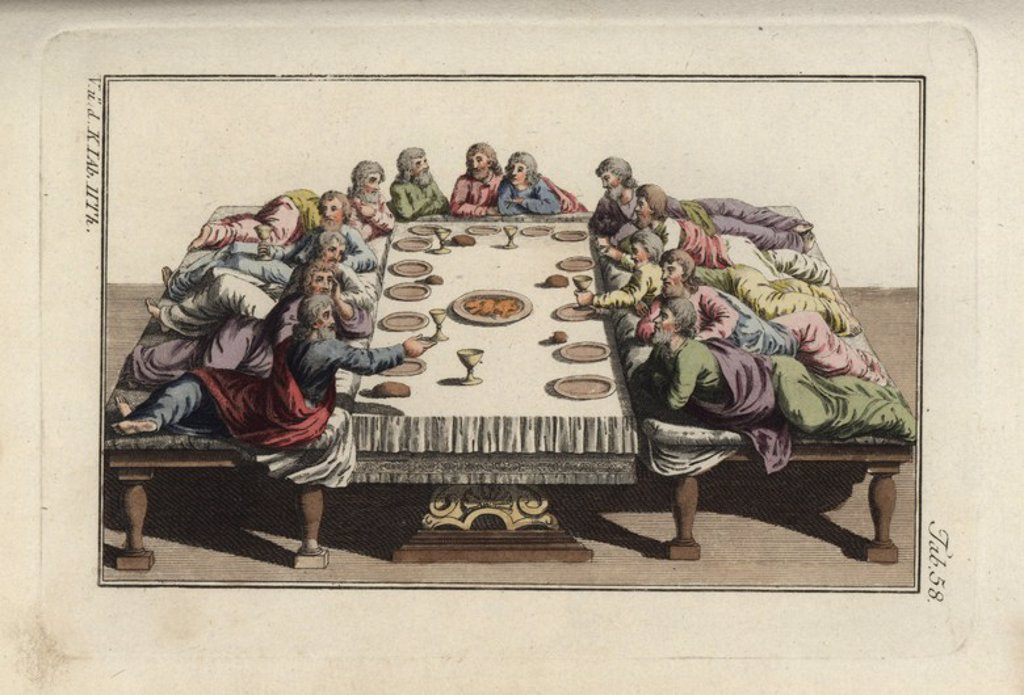 "Stock Photo: 4409-68142 The last supper with Jesus Christ and his apostles. Handcolored copperplate engraving from Robert von Spalart's ""Historical Picture of the Costumes of the Principal People of Antiquity and of the Middle Ages"" (1797)."