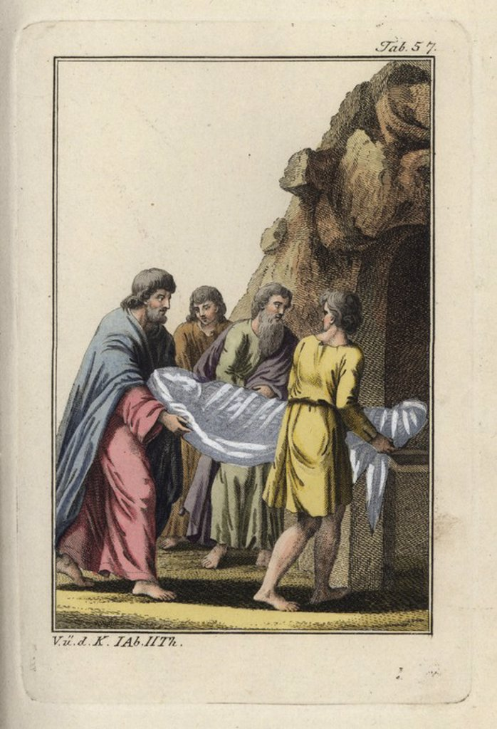 """The shrouded body of Jesus Christ being carried into the tomb. Handcolored copperplate engraving from Robert von Spalart's """"Historical Picture of the Costumes of the Principal People of Antiquity and of the Middle Ages"""" (1797). : Stock Photo"""