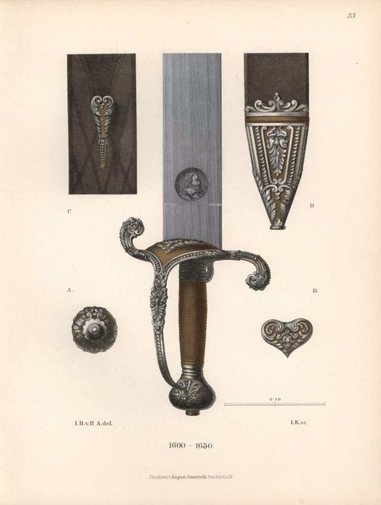 "Stock Photo: 4409-68508 Sword of Maximilian I, Elector of Bavaria, with details of hilt, blade and scabbard. Chromolithograph from Hefner-Alteneck's ""Costumes, Artworks and Appliances from the Middle Ages to the 17th Century,"" Frankfurt, 1889. Illustration by Dr. Jakob Heinrich von Hefner-Alteneck, lithograph by Joh. Klipphahn, and published by Heinrich Keller. Dr. Hefner-Alteneck (1811 - 1903) was a German museum curator, archaeologist, art historian, illustrator and etcher."