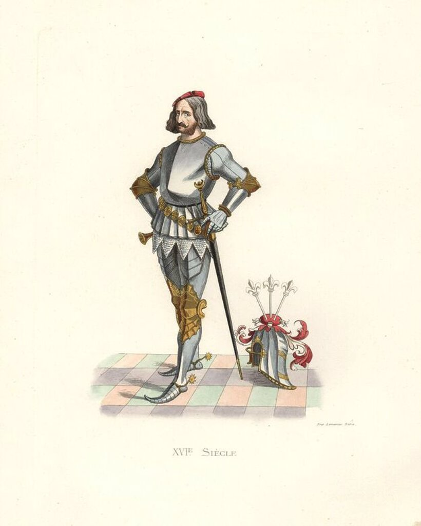"Stock Photo: 4409-68580 Patrician of Nuremberg, 16th century, from the Stroemer family, in suit of armor and grand helmet. From a precious example of ""Patriciens de Nuremberg,"" 1617, colored and finished in gold by G. Schneider. . Handcolored illustration by E. Lechevallier-Chevignard, lithographed by A. Didier, L. Flameng, F. Laguillermie, from Georges Duplessis's ""Costumes historiques des XVIe, XVIIe et XVIIIe siecles"" (Historical costumes of the 16th, 17th and 18th centuries), Paris 1867. The book was a continuation"
