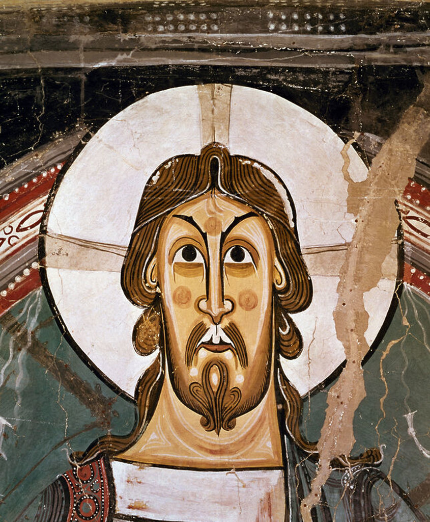 Stock Photo: 4409-6884 Christ's Face. Detail from the mural on the apse of San Clemente de Tahull. Romanesque art. Barcelona, Cataluna Museum of Art. Author: MAESTRO DE TAHULL / MAESTRO DE TAULL. Location: MUSEU NACIONAL D'ART CATALUNYA, BARCELONA, SPAIN.