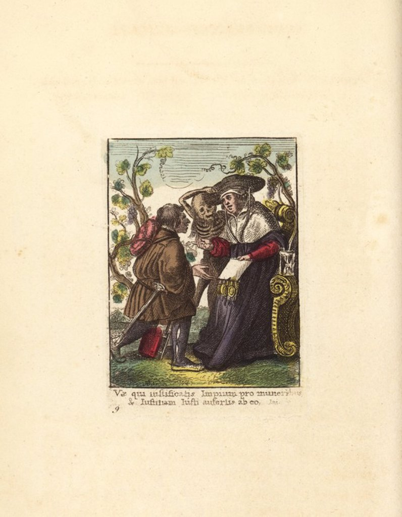 "Stock Photo: 4409-68869 Death, grotesquely crowned with flags or feathers, seizes the poor Abbess by her scapulary. A nun at the convent gate, with uplifted hands, bewails the fate of her of her superior.. Hand-coloured engraving by Chretien de Mechel from Hans Holbein's ""The Triumph of Death,"" based on original drawings by Peter Paul Rubens, 1860."