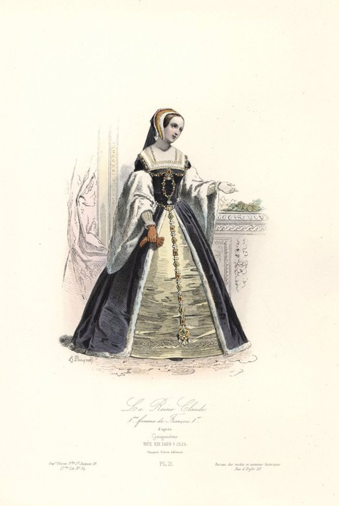 "Stock Photo: 4409-68934 Queen Claude (1499-1524), first wife of Francois I. Handcoloured steel engraving by Hippolyte Pauquet after Gaignieres from the Pauquet Brothers' ""Modes et Costumes Historiques"" (Historical Fashions and Costumes), Paris, 1865. Hippolyte (b. 1797) and Polydor Pauquet (b. 1799) ran a successful publishing house in Paris in the 19th century, specializing in illustrated books on costume, birds, butterflies, anatomy and natural history."