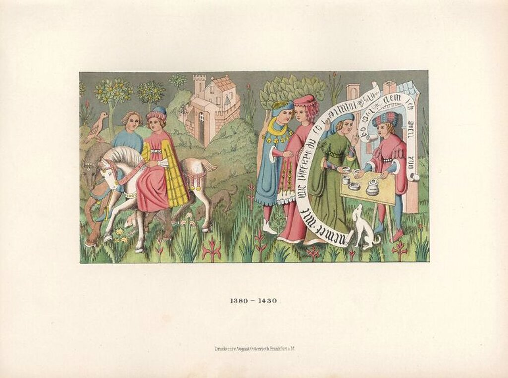 "Carpet from the early 15th century depicting men and women riding horses outside a castle, courting, and sharing soup from a pot. Chromolithograph from Hefner-Alteneck's ""Costumes, Artworks and Appliances from the early Middle Ages to the end of the 18th Century,"" Frankfurt, 1883. IIlustration drawn by Hefner-Alteneck, lithographed by CR, and published by Heinrich Keller. Dr. Jakob Heinrich von Hefner-Alteneck (1811-1903) was a German archeologist, art historian and illustrator. He was director  : Stock Photo"