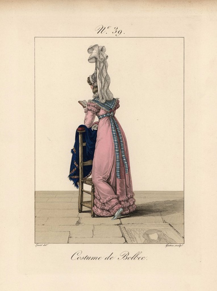 "Stock Photo: 4409-69203 Woman in costume of Bolbec, reading a book while resting against a chair. This bavolet bonnet is the most beautiful we have seen, because the veil falls from such a great height with great playfulness. Hand-colored fashion plate illustration by Lante engraved by Gatine from Louis-Marie Lante's ""Costumes des femmes du Pays de Caux,"" 1827/1885. With their tall Alsation lace hats, the women of Caux and Normandy were famous for the elegance and style."