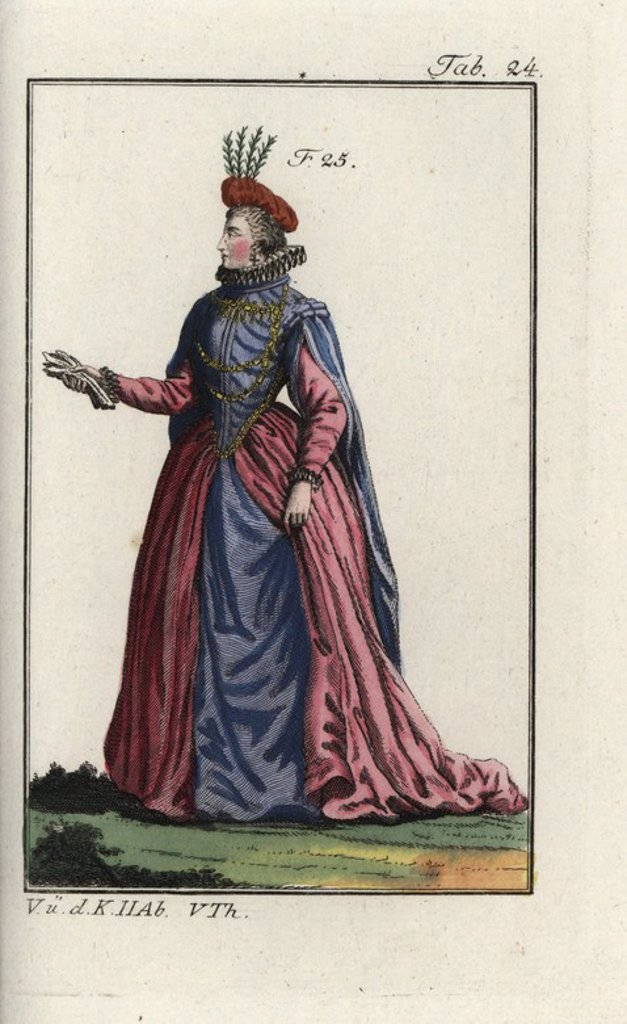 "Stock Photo: 4409-69215 Noblewoman of France, 1581. Handcolored copperplate engraving from Robert von Spalart's ""Historical Picture of the Costumes of the Principal People of Antiquity and of the Middle Ages,"" Vienna, 1811. Illustration based on Thomas Jefferys Collection of Dresses of Different Nations, Antient and Modern. After the Designs of Holbein, Van Dyke, Hollar, and others, London, 1757."